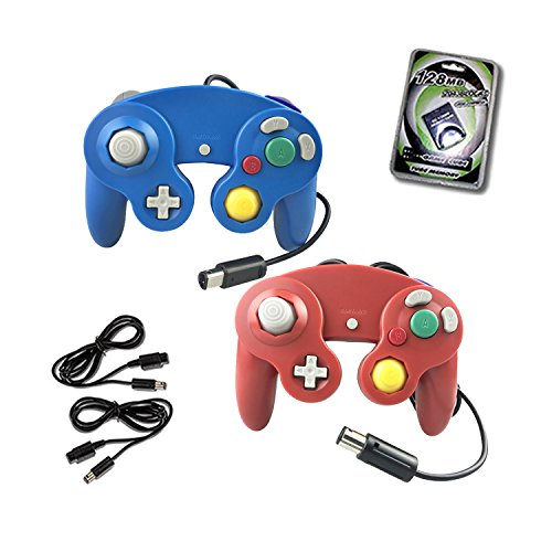 Crifeir 2 Pack Wired Controller for NGC Wii Video Game,with 2 Cable and 128MB Memory Card(Blue and Red)