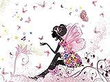 wandmotiv24 Fototapete Schmetterlingselfe Größe: 350 x 260 cm Wandbild, Motivtapete, Vlietapete Elfe Schmetterling Blumen Blüten KTk438