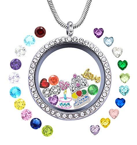 Happy Birthday Gift, Women Girl's Floating Locket Necklace for Grandma, Mom, Mum, Wife, Daughter, Granddaughter, Aunt, Niece, Cousin, Best Friend, Sister, Classmate, Teacher, Girl Friend