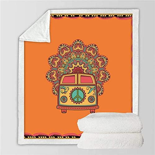 Manta de felpa de terciopelo para coche, color naranja, mandala, para sofá, bohemio, mini furgoneta, fina colcha de 50 x 40 pulgadas
