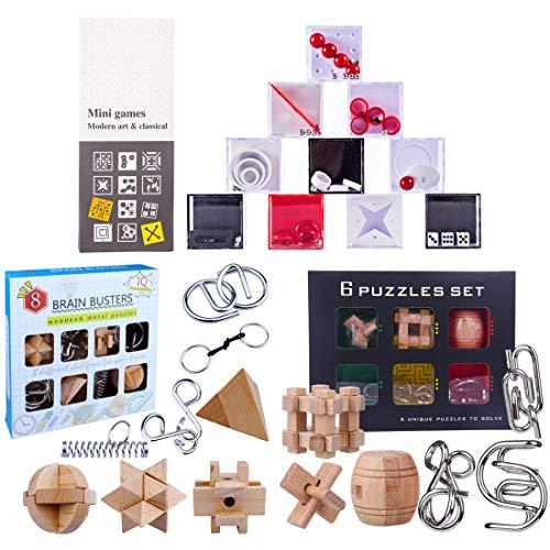 AMITAS 24 Stück Knobelspiele Set Adventskalender Knobelspiele Metall knobelspiel 3D Puzzle Metall Puzzle Knobel und Holzpuzzle Brainteaser IQ-Test Denkspiel