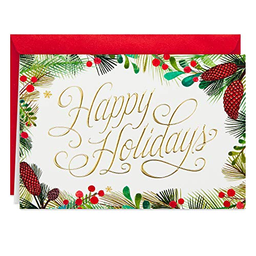 Hallmark Boxed Holiday Cards, Festive Greenery (40 Cards and Envelopes)