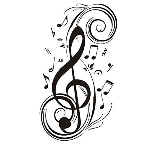 Lumanuby 1 Stück Musiknote Wanddekoration für Kinderzimmer/Wohnzimmer/Proberaum/Musik Studio Kreative Drehen Music Note Wandtattoo Abnehmbarer aus PVC Material 43*73.0cm