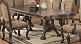 7pc Formal Dining Table and Chairs Set in Brown Cherry Finish