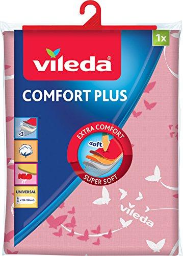 Vileda Comfort Plus Telo da Stiro, Copriasse da Stiro Universale, Triplo Strato di Cotone, Mollettone e Spugna Assorbente, Rosa, 130 x 40 cm