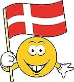 U24 Aufkleber Smily Dänemark Fahne Flagge Autoaufkleber Sticker Konturschnitt