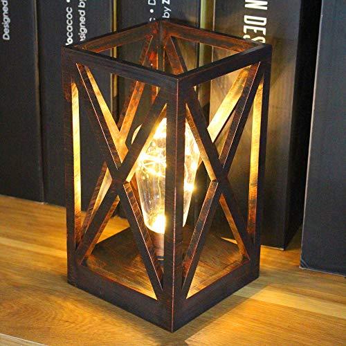 Lámpara de mesa con forma de jaula cuadrada, de estilo retro, inalámbrica, con bombillas alimentadas por pilas, para interiores y exteriores (oro rosa)
