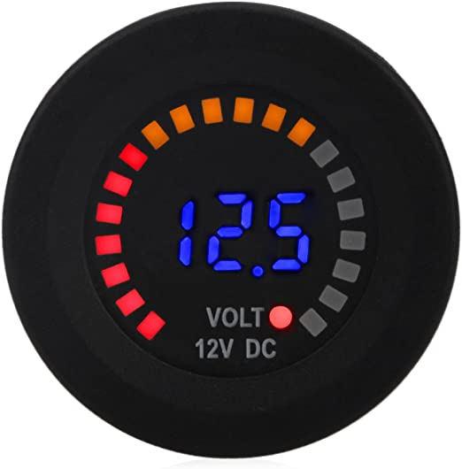 KKmoon Universal Car Motorcycle DC 12V-24V LED Panel Digital Voltage Meter with Touch ON OFF Switch Battery Capacity Display Voltmeter for SUV Truck Boat Riding mower Tractor