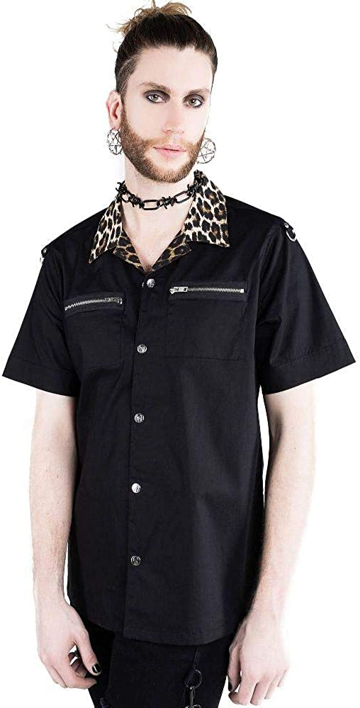 Killstar Wild Side Leopard Popular shop is the lowest price challenge Print Button Rockabilly Down New popularity Shi Work