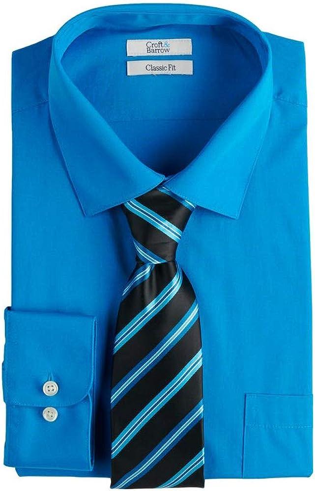 Croft & Barrow Men's Regular-Fit Stretch-Collar Dress Shirt and Patterned Tie, Turkish Tile, 18-18.5