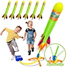 Toy Rocket Launchers for Kids-Outdoor Toys for Boys with 6 Foam Air Jump Rockets-Perfect Sports Games Birthday Gifts for Toddlers Ages 3 4 5 6 7 8+ Years Old