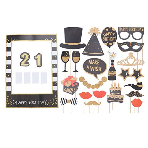 Amosfun 22pcs Selfie Photo Frame Props Glitter Paper 21 Years Old Birthday Party Photo Frame Props Creative Glasses Cake Crown Decoration Photo Booth Set Photography Accessories Party Supplies