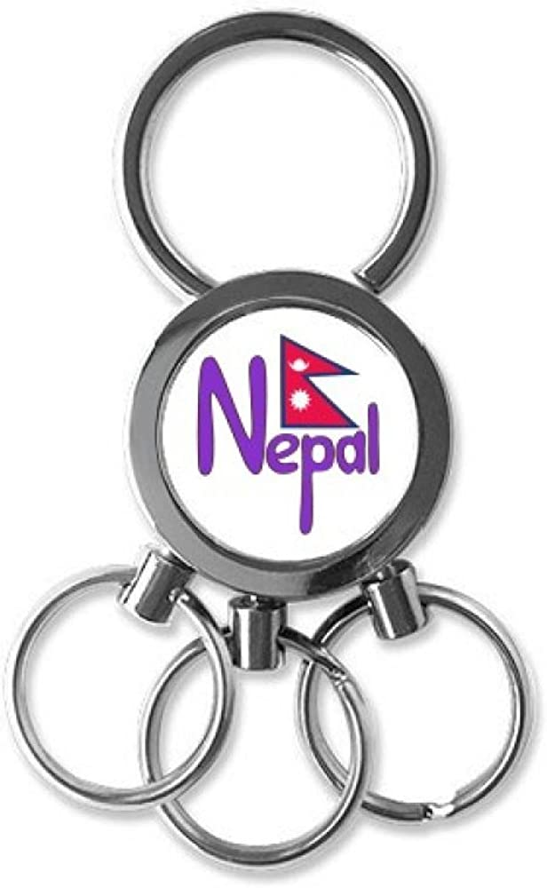 Nepal National Flag Red Purple Pattern Stainless Steel Metal Key Chain Ring Car Keychain Keyring Clip Gift