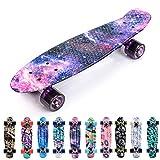 Meteor Skateboard Mini Cruiser Retro Board Completo con Cuscinetti ABEC-7 e Ruote PU Ideale per Bambini Adolescenti e Adulti Ragazzo e Ragazza (V-Galaxy)