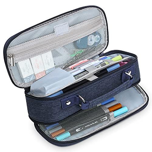 Estuche Escolar con 3 Compartimentos Multifuncional Estuche de lápices de Gran Capacidad para Hombre Mujer Estudiante en Escuela Oficina para Niñas Niños Adolescentes Estudiantes Adultos(Azul...