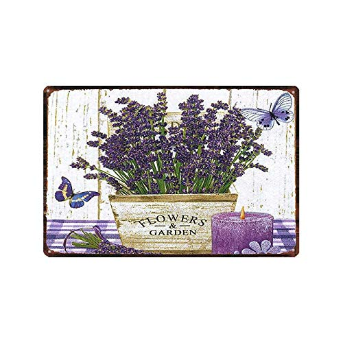 ivAZW Tin Signs Garden Lavender Metal Plate Purple Flower Farmhouse Plaque Wall Art Home Vintage Decoration 20x30cm 4