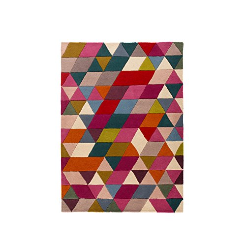 Flair Rugs Illusion Wollteppich mit Dreieck-Design, handgefertigt (120cm x 170cm) (Pink/Bunt)