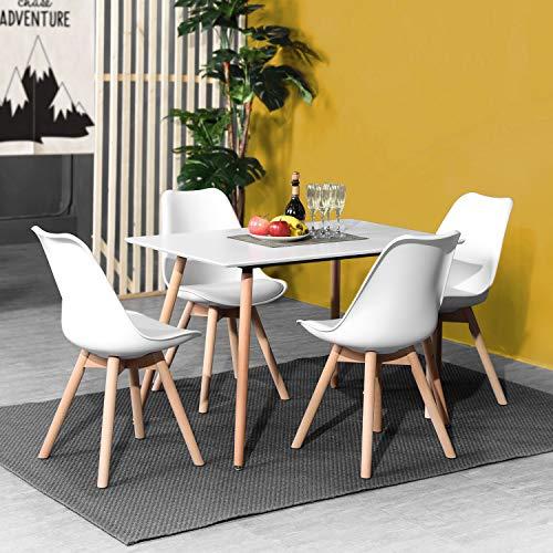 DORAFAIR Set aus Esstisch Rechteckig und 4 Skandinavischen Weißer Stühlen, für Küche Esszimmer Wohnzimmer, Weißer Tisch