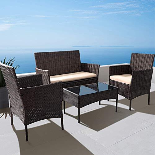 DNNAL Patio Porch möbel Sets, 4 Stück Außenhof Rattan Sofa Garten Terrasse Villa Wicker Stuhl Kombination Freizeit Hotel Möbel