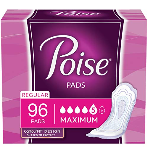 Poise Incontinence Pads, Maximum Absorbency, Regular Length, 96 Count (2 Packs of 48) (Packaging May Vary)