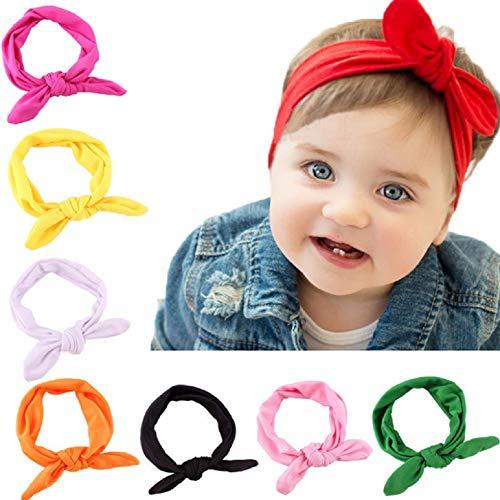 Paquete de 10 diademas de bebé con lazo suave para el pelo, lindos accesorios para el pelo para bebés y niños, regalo (color al azar)