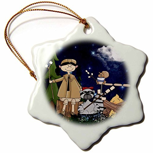 cwb2jcwb2jcwb2j 3-Inch Porcelain Snowflake Decorative Hanging Ornament, Girls Scout Camper In The Woods With A Squirrel And Marshmallows