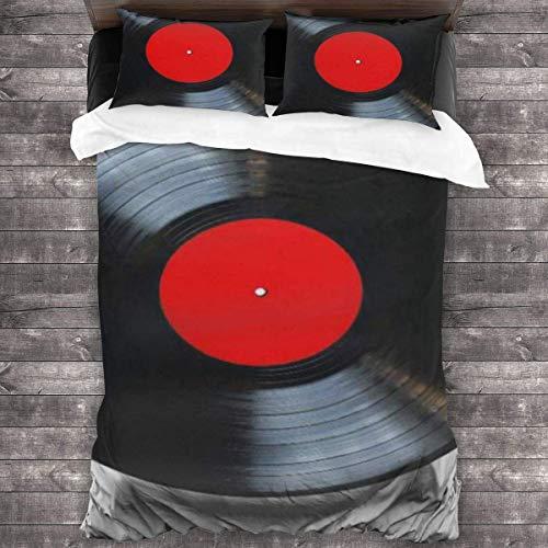 SFWER Simple y Elegante, cómodo Juego de Cama de 3 Piezas Juego de Vinilo 86 '' x70 Objeto Rojo Disco de Vinilo Música Blanca Reproductor de álbum de Placas Antiguas