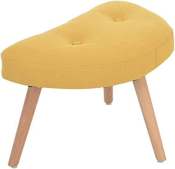 ZHANGQIANG Upholstered Footstool Ottoman Round Pouffe Wooden Legs Round Big Checkered Color Yellow Size 553637cm