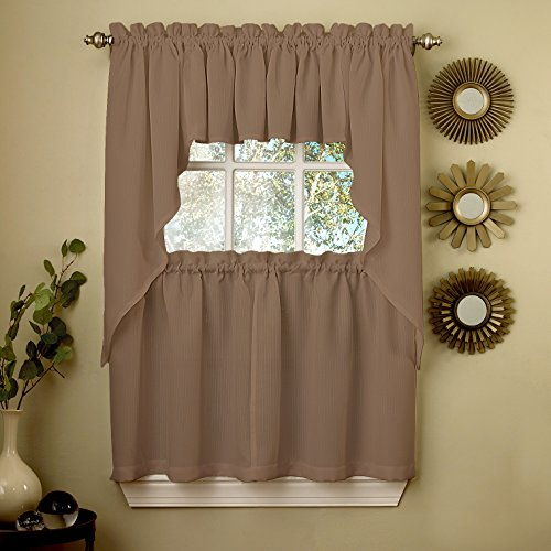 """Sweet Home Collection 5 Pc Kitchen Curtain Set-Valance Swag Choice of 24"""" or 36"""" Tier Pair, Ribcord Taupe"""