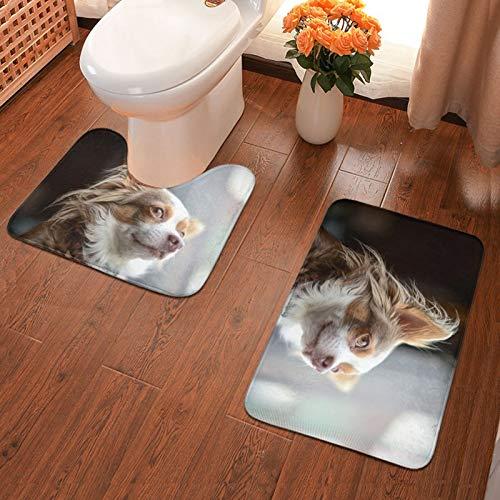 John J Littlejohn Non Slip Cute Chihuahua Dog Bathroom Antiskid Pad Bathmat Waterproof Bath Carpet Floor Rug 2 Pieces Bath Mat + Contour