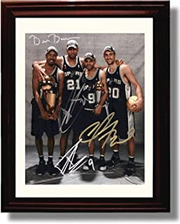 Framed Tim Duncan, Bruce Bowen, Tony Parker, Manu Ginobli Autograph Replica Print - San Antonio Spurs