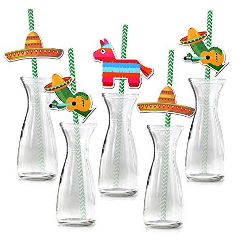 Howaf Pack 36 Fiesta Mexicana pajitas papel Pajas de Beber Decoración de Cóctel sombreros piñatas Pajitas Biodegradables Pajitas Cócteles para Cinco de Mayo Fiesta de Cumpleaños Boda Decoración