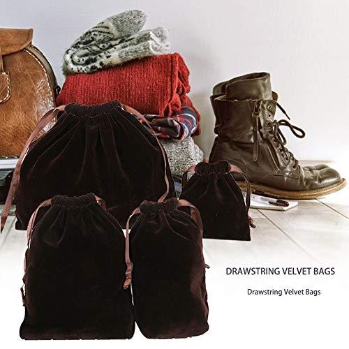atteryhui 4PCS / Set Bolsas de Terciopelo Marrón con Cordón, Bolsas de Almacenamiento para Embalaje Cosméticos Joyería Viaje, Bolsas de Regalo para Fiesta Navidad benchmark