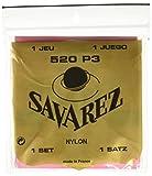 Savarez 655867 - Cuerdas para Guitarra Clásica, Juego Tradicional Concert 520P3 Tensión estandard, Nylon rojo, Cuerdas graves plateado