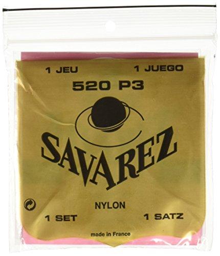 Savarez 655867 - Cuerdas de alta tensión, nailon rojo, cuerdas de bajo plateadas