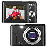 IEBRT Digital Camera,1080P Mini Kid Camera Vlogging Camera Video Camera LCD Screen 16X Digital Zoom 36MP Rechargeable Point and Shoot Camera for Compact Portable Kids Teens Gifts(Black)