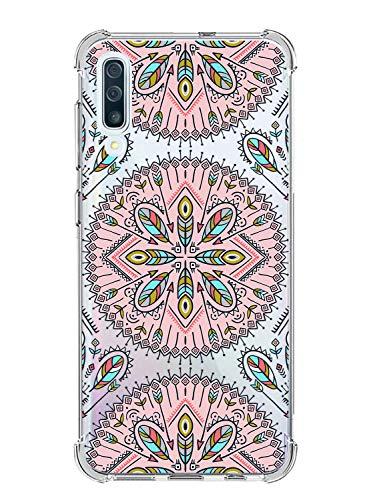 Suhctup Funda Compatible con Samsung Galaxy S9 Carcasa Transparente,Dibujo Diseño Flor [Protección Caídas] Ultra-Delgado Flexible Silicona TPU Estuche Cover para Galaxy S9,Mandala 1