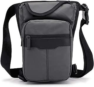 Mens Bag Outdoor Travel Men's Bag, Large Capacity, Lightweight,Gray Pure Color Trend Waterproof Nylon Material Sports Leg Bag, Men's Multi-bag Casual Diagonal Bag, High capacity