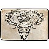BUXI Printing Fußabstreifer,Vintager Rotwild-Schädel Mit Den Geweihen Sun Und Mond Fußmatte 40x60cm