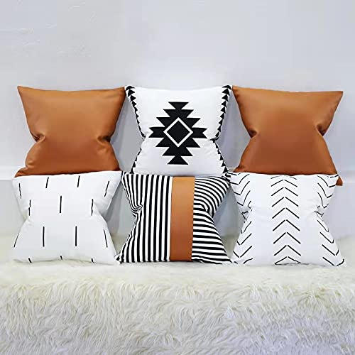 Leehong Boho Decorative Pillow Covers for Couch Bed Sofa Brown Faux Leather Cushion Covers Black and White Pillow Covers Farmhouse Scandinavian Pillows for Home Decor Set of 6 18x18 inch