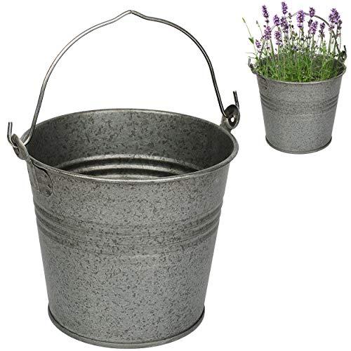 4 Stück _ kleine - Metall Eimer / Blumentöpfe - metallic grau / anthrazit - 15 cm hoch - 2 Liter - rostfrei - Blech Eimer / Metalleimer - rund - mit 3-D Effek..