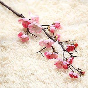 6 Pcs Artificial Flowers Spring Cherry Plum Blossom Fake Flowers Bouquet Branch Silk Flower for Home Wedding Decoration DIY
