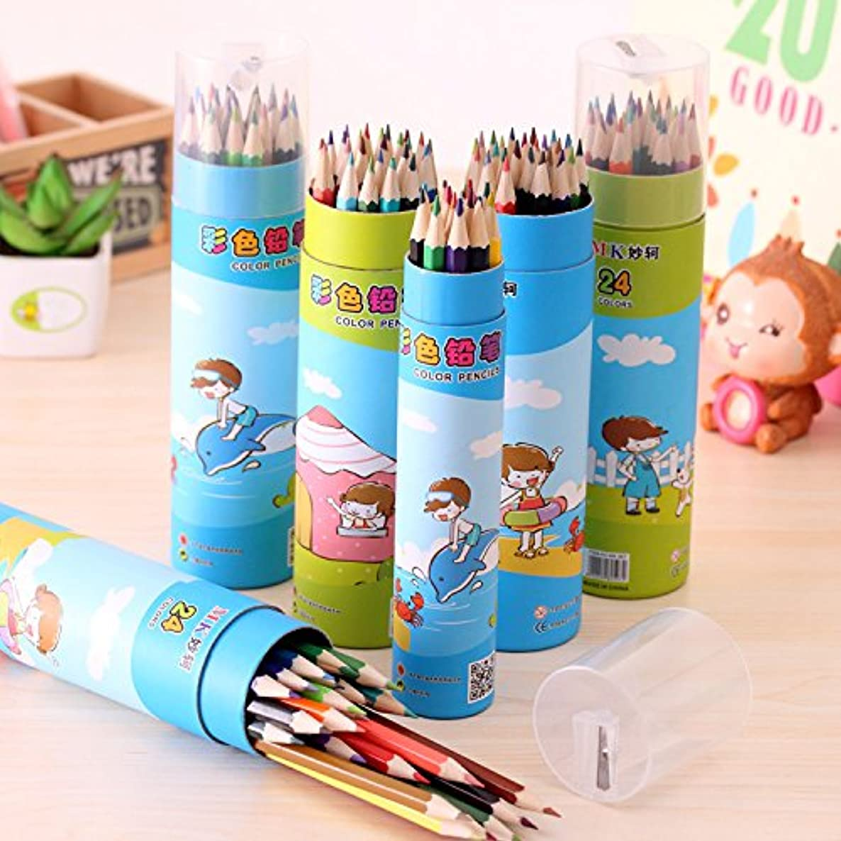 GMissT 24-color Colored Pencil GMissT Korean Cartoon Drawing Pencils With Fiber Container
