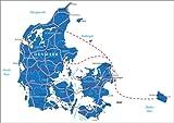 Poster 40 x 30 cm: Dänemark Karte von Editors Choice -