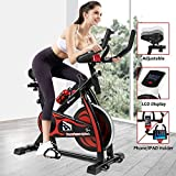 Fitnessclub Indoor <span class='highlight'>Exercise</span> Bike Cardio Workout W/Belt Driven Flywheel Cycling Adjustable Handlebars Seat Resistance Digital Monitor Heart Rate Sensors W/Phone Holder Bottle Red