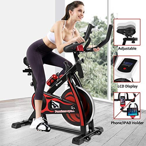 Fitnessclub Indoor Exercise Bike Cardio Workout W/Belt Driven Flywheel Cycling Adjustable Handlebars Seat Resistance Digital Monitor Heart Rate Sensors W/Phone Holder Bottle Red