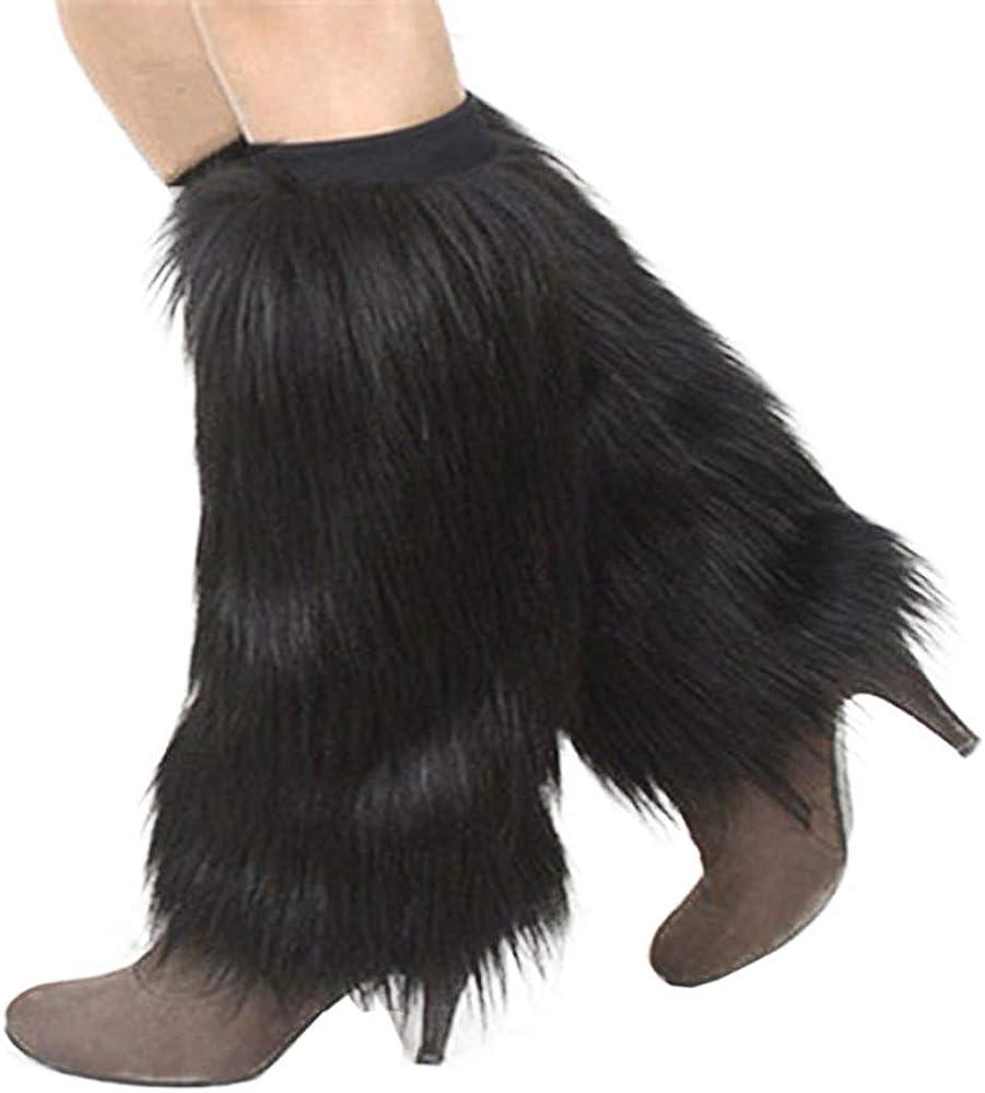 Yu Li Womens Furry Leg Warmers Super Soft Multicolor Boots Shoes Cuffs Covers