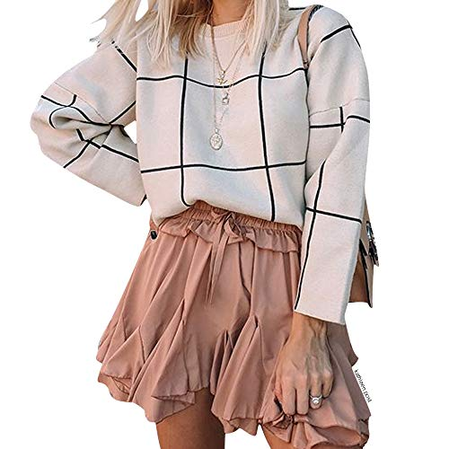 Chicwish Women's Comfy Casual Long Sleeve Cream Grid Round Neck Knit Top Pullover Sweater