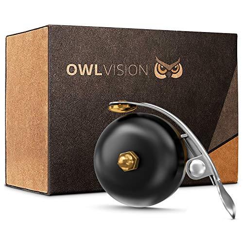 OWL VISION - Hochwertige Fahrradklingel Mini [universal passend] Fahrrad Klingel Retro sehr klarer Klang - Premium Fahrradglocke für Mountainbike Rennrad - MTB & Fahrrad Zubehör Klingel Glocke Ring