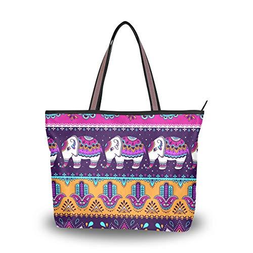 Wowprint Ethno-Muster, Paisleymuster, Tier-Elefant, Handtasche, große Kapazität, Schultertasche für Schule, Arbeit, Reisen, Einkaufen, Strand